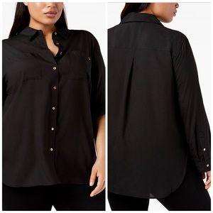 Calvin Klein Black Button Down Top Plus Size 3X
